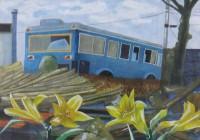 古いバスのある風景